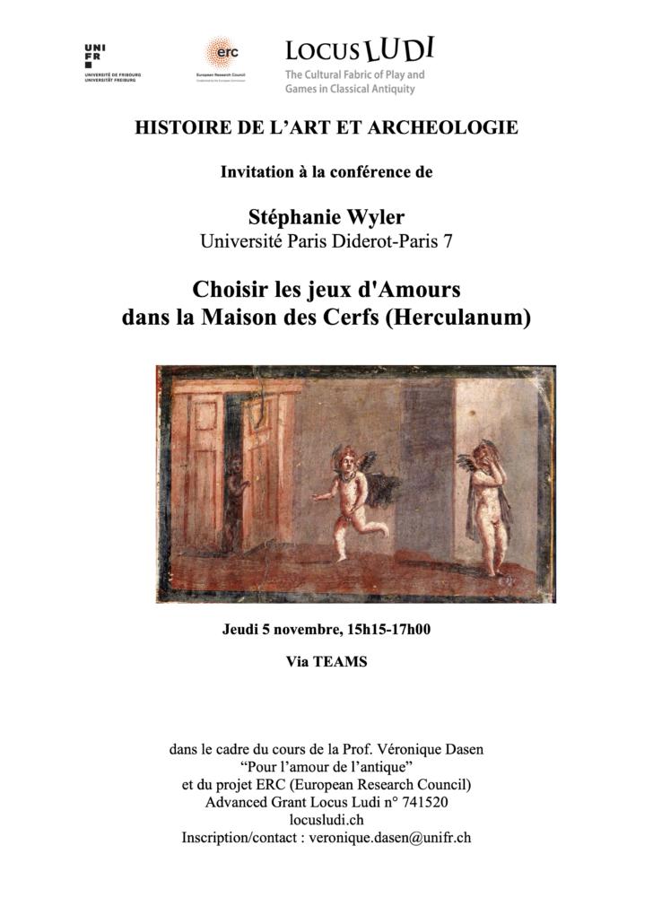 """Lecture """"Choisir les jeux d'Amours dans la Maison des Cerfs (Herculanum)"""", Stéphanie Wyler (Paris Diderot-Paris 7)"""